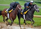Rule (left) and Mission Impazible work at Churchill Downs on April 24.