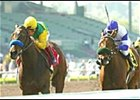 Composure, left, ridden by Jerry Bailey, beats Elloluv, ridden by Patrick Valenzuela, in the ,000 Grade I Santa Anita Oaks, Saturday, March 8, 2003, at Santa Anita Park in Arcadia, Calif. (AP Photo/Benoit Photo)