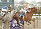 Funny Cide pulls ahead of Evening Attire to win the Excelsior Breeders' Cup Stakes at Aqueduct.