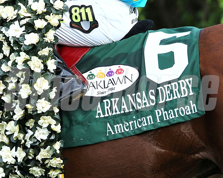 AMERICAN PHAROAH THE ARKANSAS DERBY 79th Running (Grade I) Oaklawn Park     Hot Springs, Arkansas April 11, 2015    Race #11 Purse $1,000,000 1-1/8 Miles  1:48.52 Zayat Stables, LLC, Owner Bob Baffert, Trainer Victor Espinoza, Jockey Far Right (2nd) Mr. Z (3rd) $2.20  $2.20  $2.10 Order of Finish - 6, 7, 2, 4 Please Give Photo Credit To:  / Coady Photography