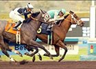 Boston Common and Gary Stevens, right, defeat Summer Service and Mike Smith to win the El Conejo Handicap, Thursday at Santa Anita.