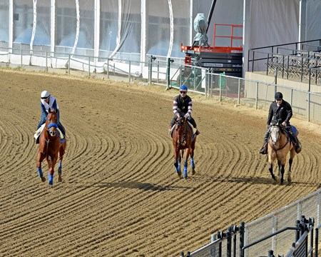 Caption:  First time on track at Pimlico, l-r, are Dortmund with Dana Barnes, American Pharoah, and Jimmy Barnes on Smokey