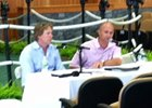 Trainer Dallas Stewart (left) and West Point Thoroughbreds president Terry Finley speak at the ownership seminar.