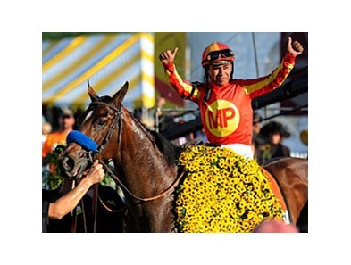 "Preakness winner Lookin At Lucky<br><a target=""blank"" href=""http://www.bloodhorse.com/horse-racing/photo-store?ref=http%3A%2F%2Fpictopia.com%2Fperl%2Fgal%3Fprovider_id%3D368%26ptp_photo_id%3D8959664%26ref%3Dstory"">Order This Photo</a>"