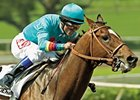 Brother Derek, shown winning the 2006 Santa Anita Derby, ran second in his first race in 14 1/2-months April 20.