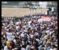 Lured by perfect weather and a Triple Crown bid, fans crowded into Belmont Park on Saturday.