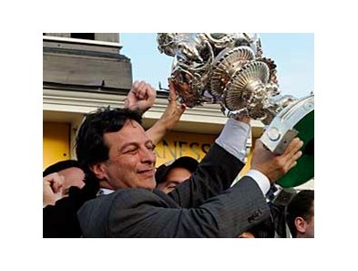 Paul Pompa, shown hoisting the 2008 Preakness trophy, has another impressive winner in Well Positioned.