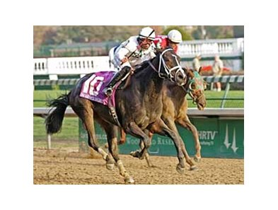 Leah's Secret holds off Unforgotten to win the Chilukki Nov. 2 at Churchill Downs.