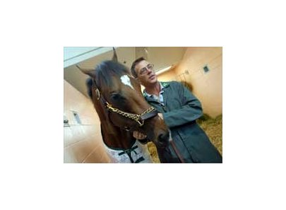 Dr. Dean Richardson, with Barbaro earlier in the week.