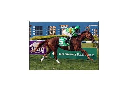 Shadow Cast, ridden by Robby Albarado, wins the Bayou Breeders' Cup.
