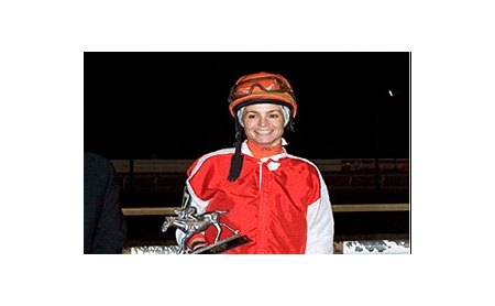 Tara Hemmings won the seventh annual female jockeys challenge at Hoosier Park.