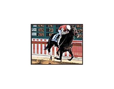 War Emblem, shown winning the Illinois Derby, has been sold and will be trained by Bob Baffert.