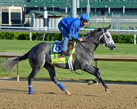 Frosted on the track for first time at Churchill Downs April 29, 2015, in Louisville, KY.
