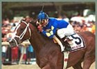 Harlan's Holiday, en route to victory in the Pennsylvania Derby.