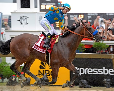 American Pharaoh and jockey Victor Espinoza cross the finish line in the 2015 Grade I Preakness Stakes at Pimlico in front of a record crowd of 131,680.