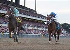 Birdstone, forground, spoils Smarty's bid for a twelfth Triple Crown.