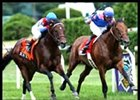 Del Mar Show, left, wins the Bernard Baruch under Jerry Bailey.