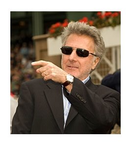 "Dustin Hoffman, star of ""Luck,"" at Santa Anita Park."