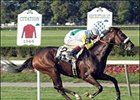 Artie Schiller, ridden by Richard Migliore, captures the Jamaica Handicap, Sunday at Belmont Park.
