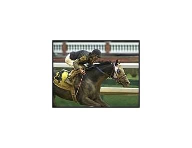 Repent, shown winning the Kentucky Jockey Club Stakes, had a fast workout Wednesday.