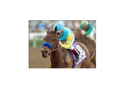 Downthedustyroad wins the La Brea Stakes, Saturday at Santa Anita.