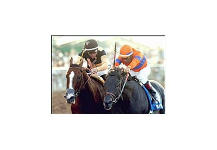 Supah Blitz (right) holds off Domestic Dispute to win the Del Mar Breeders' Cup Handicap.