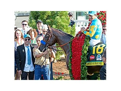"American Pharoah<br><a target=""blank"" href=""http://photos.bloodhorse.com/TripleCrown/2015-Triple-Crown/Kentucky-Derby-141/i-37pZwfS"">Order This Photo</a>"