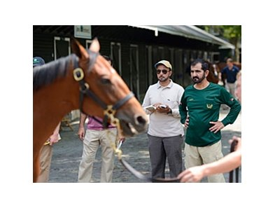 Sheikh Mohammed at the Fasig-Tipton Saratoga Yearling Sale.