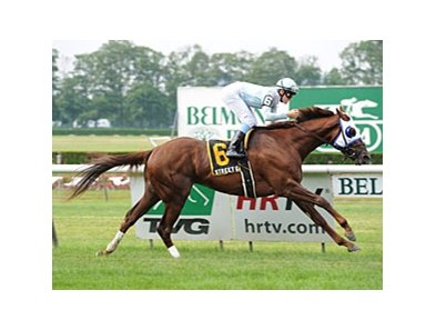 "Street Game bounds home in the Hill Prince at Belmont.<br><a target=""blank"" href=""http://www.bloodhorse.com/horse-racing/photo-store?ref=http%3A%2F%2Fpictopia.com%2Fperl%2Fgal%3Fprovider_id%3D368%26ptp_photo_id%3D9569270%26ref%3Dstory"">Order This Photo</a>"