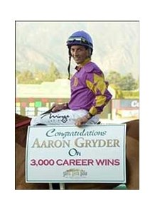 "Jockey Aaron Gryder celebrates his 3,000th career win, Wednesday at Santa Anita.<br><a target=""blank"" href=""http://www.bloodhorse.com/horse-racing/photo-store?ref=http%3A%2F%2Fpictopia.com%2Fperl%2Fgal%3Fprovider_id%3D368%26ptp_photo_id%3D855331%26ref%3Dstory"">Order This Photo</a>"