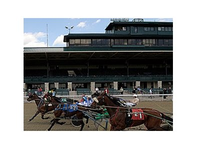 Standardbred Pacers test the Polytrack at Keeneland on May 21.