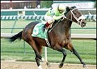Allamerican Bertie roars past favored Take Charge Lady to capture Falls City Handicap.