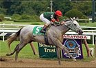 Jockey Jerry Bailey brings Silver Wagon across the finish line to win the Hopeful Stakes, Saturday at Saratoga.