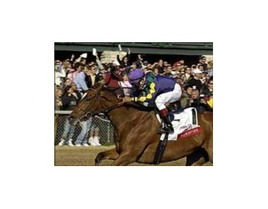 Bushfire, with jockey Cornelio Velasquez aboard, wins the Ashland, Saturday at Keeneland.