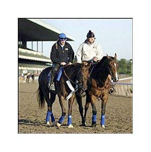 Belmont Stakes favorite Smarty Jones, left, with exercise rider Pete Van Trump aboard, walks with trainer John Servis atop stablemate Butterscotch at Belmont Race Track on Friday morning.