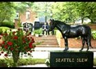 Bronze statue of Seattle Slew, unveiled during memorial service.