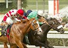 Devious Boy (5) battles Sweet Return (6) and Urban King en route to winning the Oak Tree Derby, Saturday at Santa Anita.