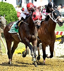 Sandbar shakes free from Happy My Way to win the Maryland Sprint Handicap.