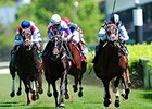 "Feathered (right) leads all the way to take the Edgewood.<br><a target=""blank"" href=""http://photos.bloodhorse.com/AtTheRaces-1/At-the-Races-2015/i-8jpdcLr"">Order This Photo</a>"