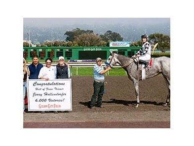 Celebrating Jerry Hollendorfer's 6000th win with Just Tappin It and Russell Baze at Golden Gate.