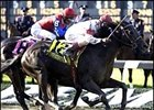 Sarava, in the biggest win of his career, the 2002 Belmont Stakes.