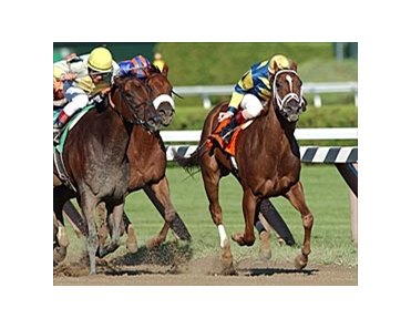 Longshot Harmony Lodge (right) hangs on for gutsy upset in the Ballerina, Sunday at Saratoga.