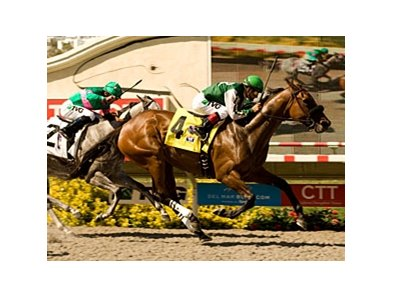 "Sweet August Moon wins the Rancho Bernardo Handicap under Victor Espinoza. <br><a target=""blank"" href=""http://www.bloodhorse.com/horse-racing/photo-store?ref=http%3A%2F%2Fpictopia.com%2Fperl%2Fgal%3Fprovider_id%3D368%26ptp_photo_id%3D9159611%26ref%3Dstory"">Order This Photo</a>"