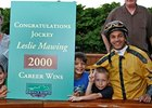 Jockey Leslie Mawing celebrates win number 2000.