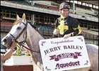 Jerry Bailey, aboard Gaviola, after notching career win number 5,000 in the Beaugay Handicap.