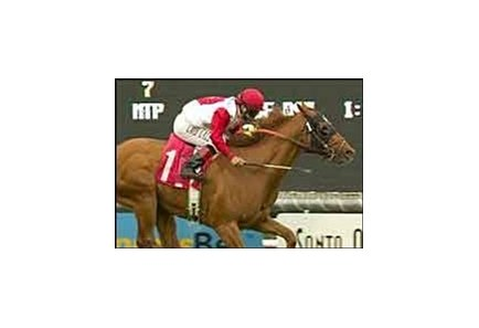 Pure as Gold and jockey Patrick Valenzuela win the San Simeon Handicap.