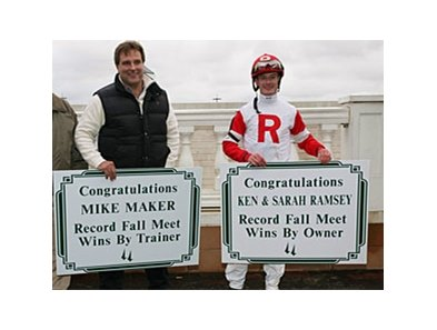 Jockey Julien Leparoux (right) and trainer Mike Maker celebrate Ken & Sarah Ramsey's record 16th win of the Fall meet, and Mike Maker's training record for the meet.