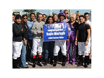 Rajiv Maragh celebrates the 1,000th victory of his career.