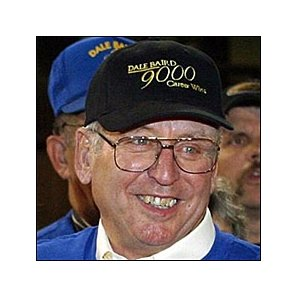 Dale Baird wears a new hat after his horse, Frazee's Folly, won a race at Mountaineer in 2004 to give him 9,000 career wins.