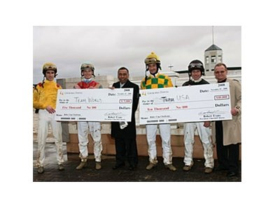"Team USA (right) captained by Pat Day, beat Team World by the slimmest of margins, 10 points to 9 1/2, in the Nov. 15 inaugural ""Rider Cup"" for charity at Churchill Downs."